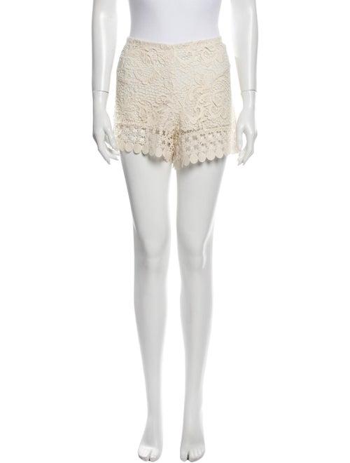 Alexis Lace Pattern Mini Shorts White