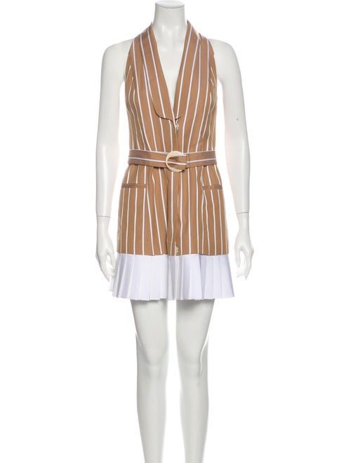 Alexis Striped Mini Dress Brown