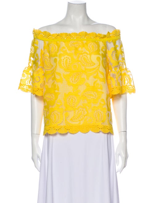 Alexis Lace Pattern Off-The-Shoulder Blouse Yellow