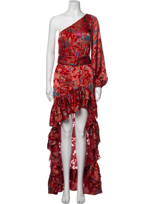 Alexis Floral Print Long Dress Red