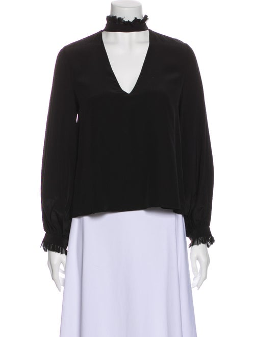 Alexis Silk Mock Neck Sweatshirt Black