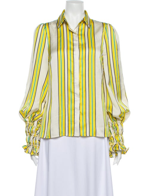 Alexis Striped Long Sleeve Button-Up Top Yellow