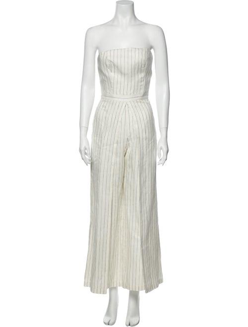 Alexis Linen Striped Jumpsuit White