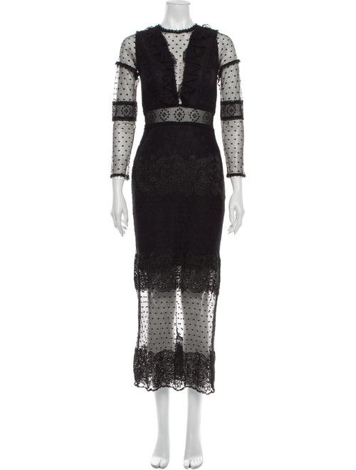 Alexis Lace Pattern Long Dress Black