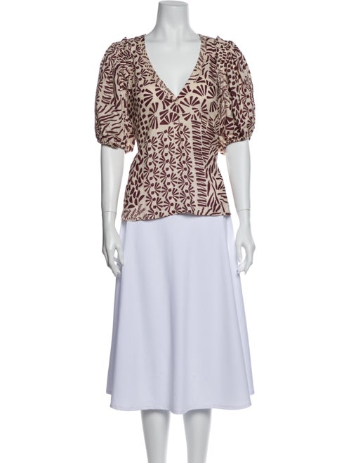 Alexis Linen Animal Print Blouse Brown