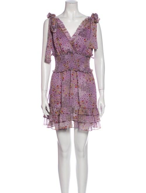Alexis Floral Print Mini Dress Purple