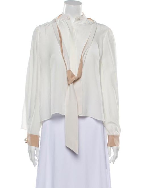 Alexis Silk V-Neck Blouse White