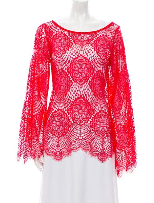 Alexis Lace Pattern Bateau Neckline Blouse Red