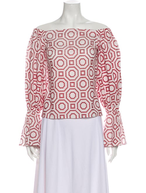 Alexis Printed Off-The-Shoulder Blouse Red