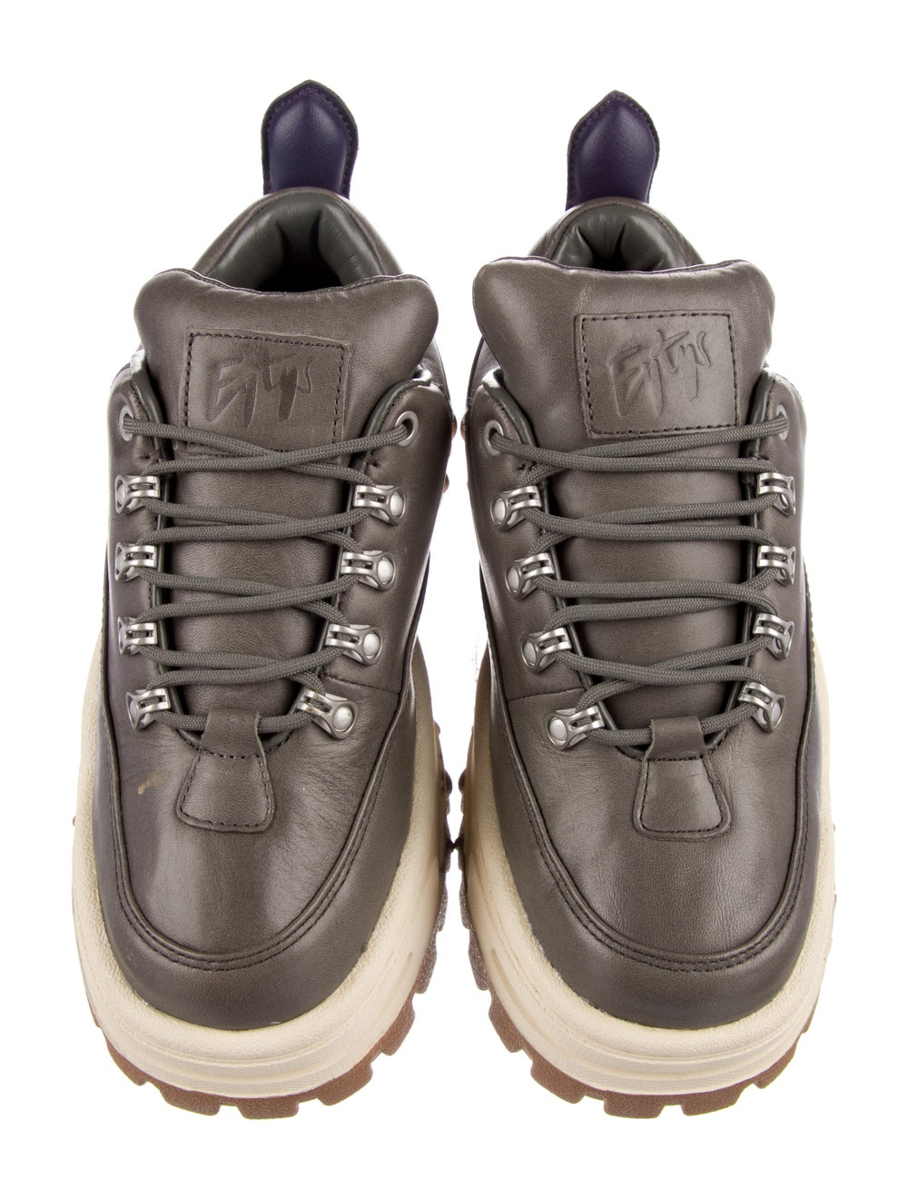 Eytys Leather Chunky Sneakers Grey - image 3