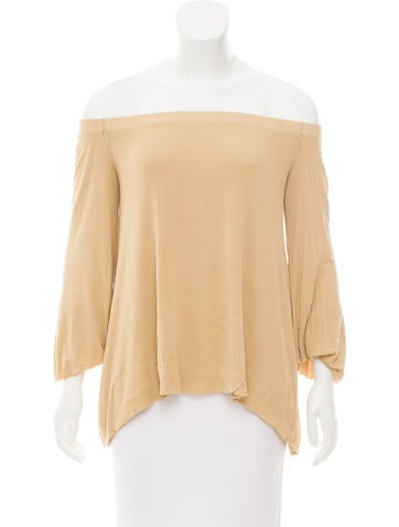 Enza Costa Knit Off-the-Shoulder Top None