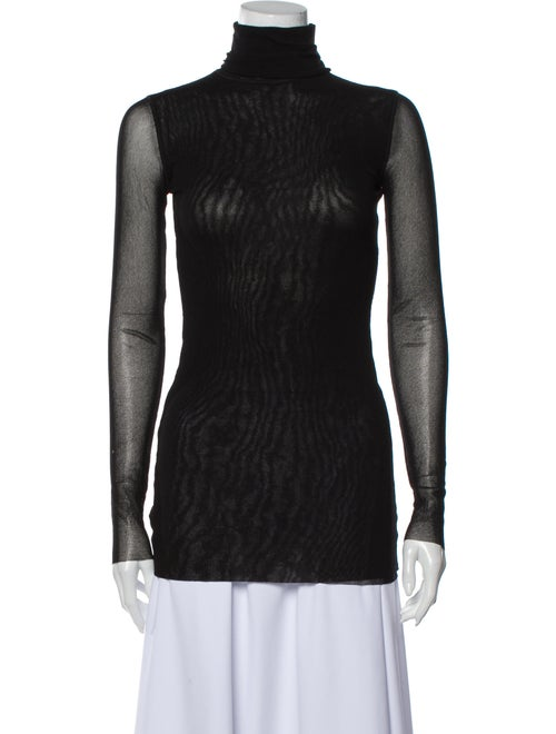 Fuzzi Turtleneck Long Sleeve Top Black