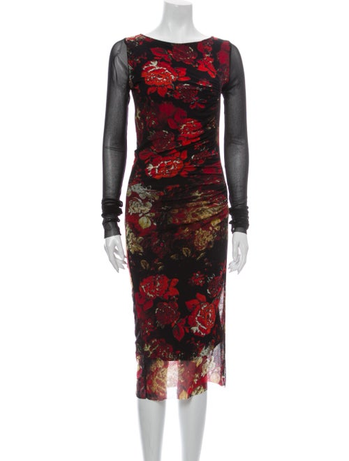 Fuzzi Floral Print Midi Length Dress Red