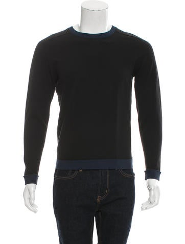 Folk Rib Knit Crew Neck Sweater None