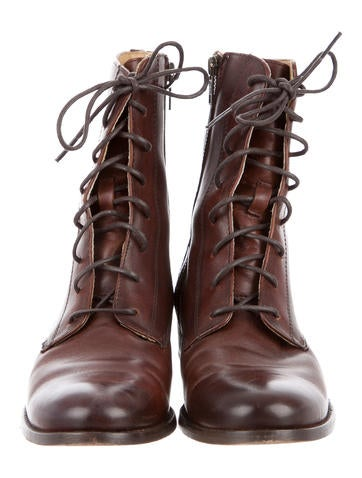 Distressed Leather Ankle Boots