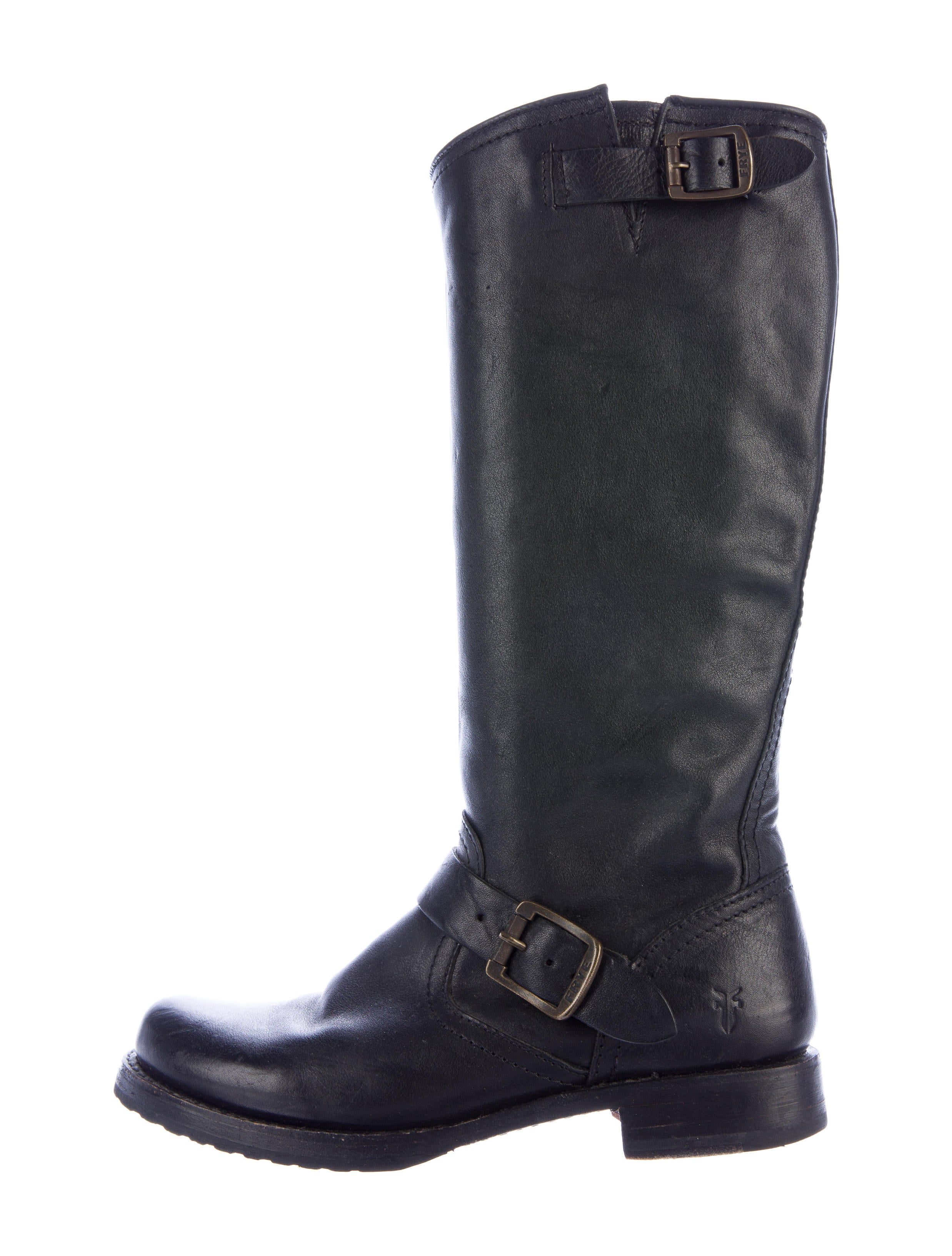 frye leather moto boots shoes wf821036 the realreal