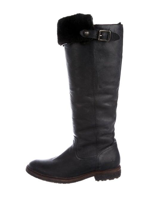 Frye Signature Logo Leather Riding Boots Black