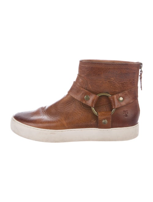 Frye Signature Logo Leather Sneakers Brown