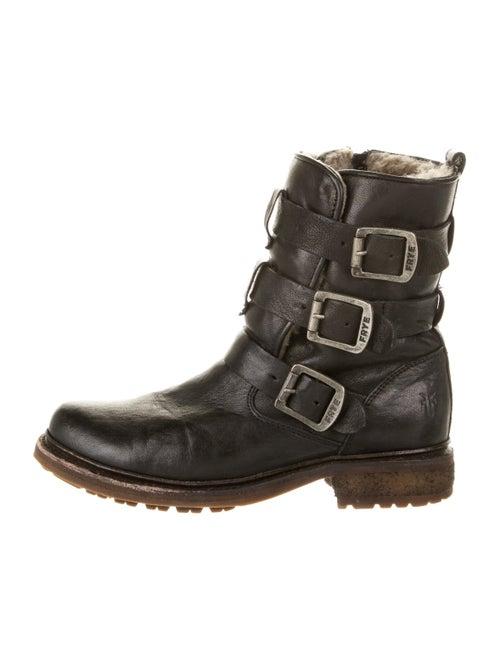 Frye Shearling Combat Boots Black