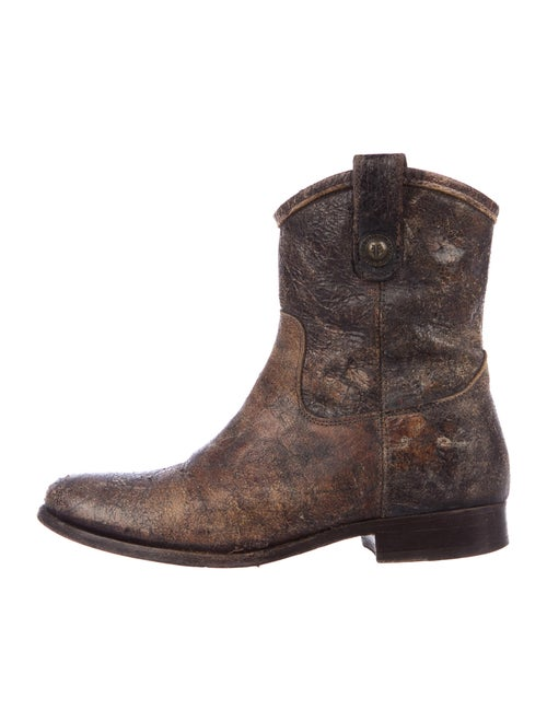 Frye Distressed Leather Western Boots Brown