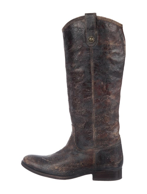 Frye Distressed Leather Riding Boots Brown