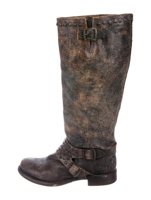 Frye Distressed Leather Moto Boots Brown