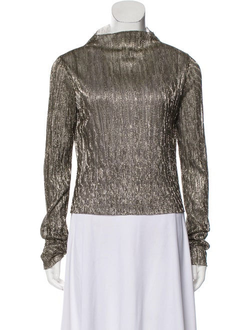 Giada Forte Turtleneck Long Sleeve Top Gold
