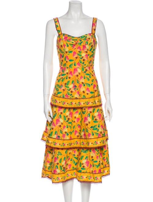 Farm Rio Printed Midi Length Dress w/ Tags Yellow