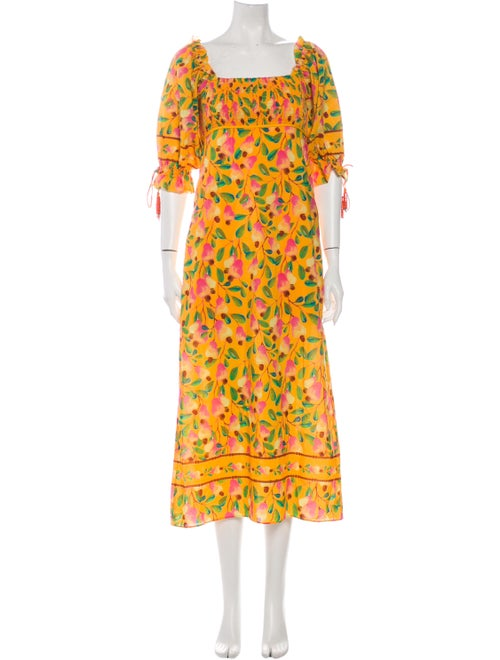 Farm Rio Floral Print Long Dress Yellow