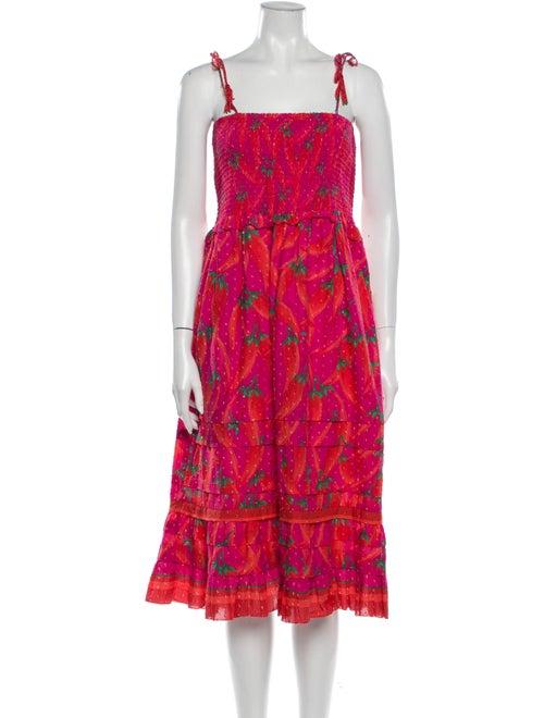 Farm Rio Floral Print Midi Length Dress Pink