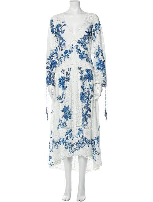 Farm Rio Printed Long Dress White