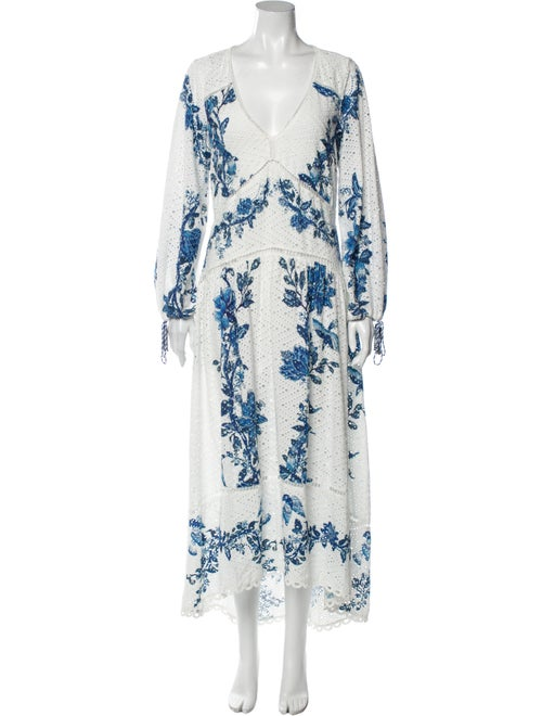Farm Rio Printed Long Dress White - image 1