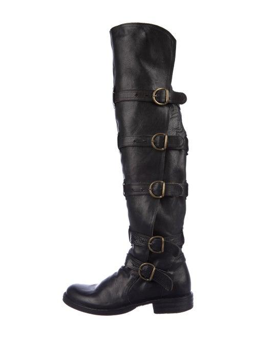 Fiorentini + Baker Leather Combat Boots Black - image 1