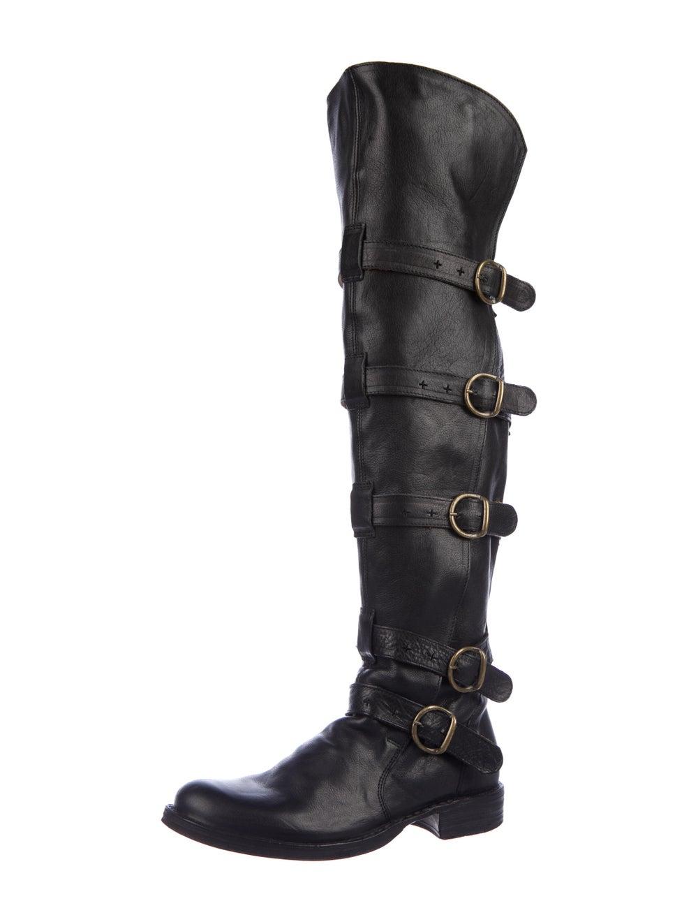 Fiorentini + Baker Leather Combat Boots Black - image 2