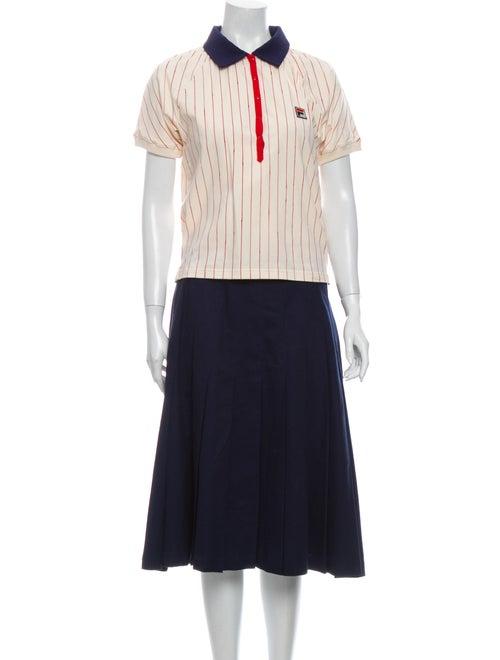 Fila x Bandier Striped Pleated Accents Skirt Set B
