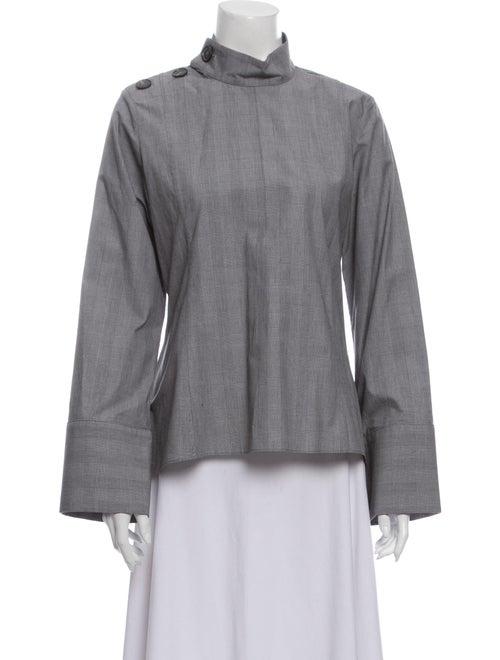 Fabiana Pigna Mock Neck Long Sleeve Blouse Grey