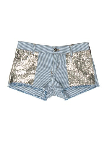 Sequined Stripe Shorts w/ Tags