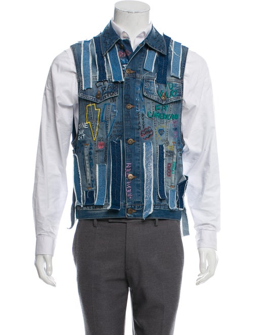 Faith Connexion Patchwork Denim Vest denim