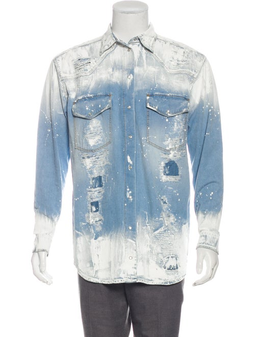 Faith Connexion Painted Denim Button-Up Shirt blue