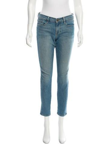 Frame Denim Mid-Rise Skinny Jeans
