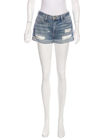 Frame Denim Distressed Denim Shorts None