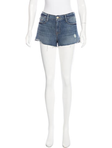 Frame Denim Distressed Mini Shorts None