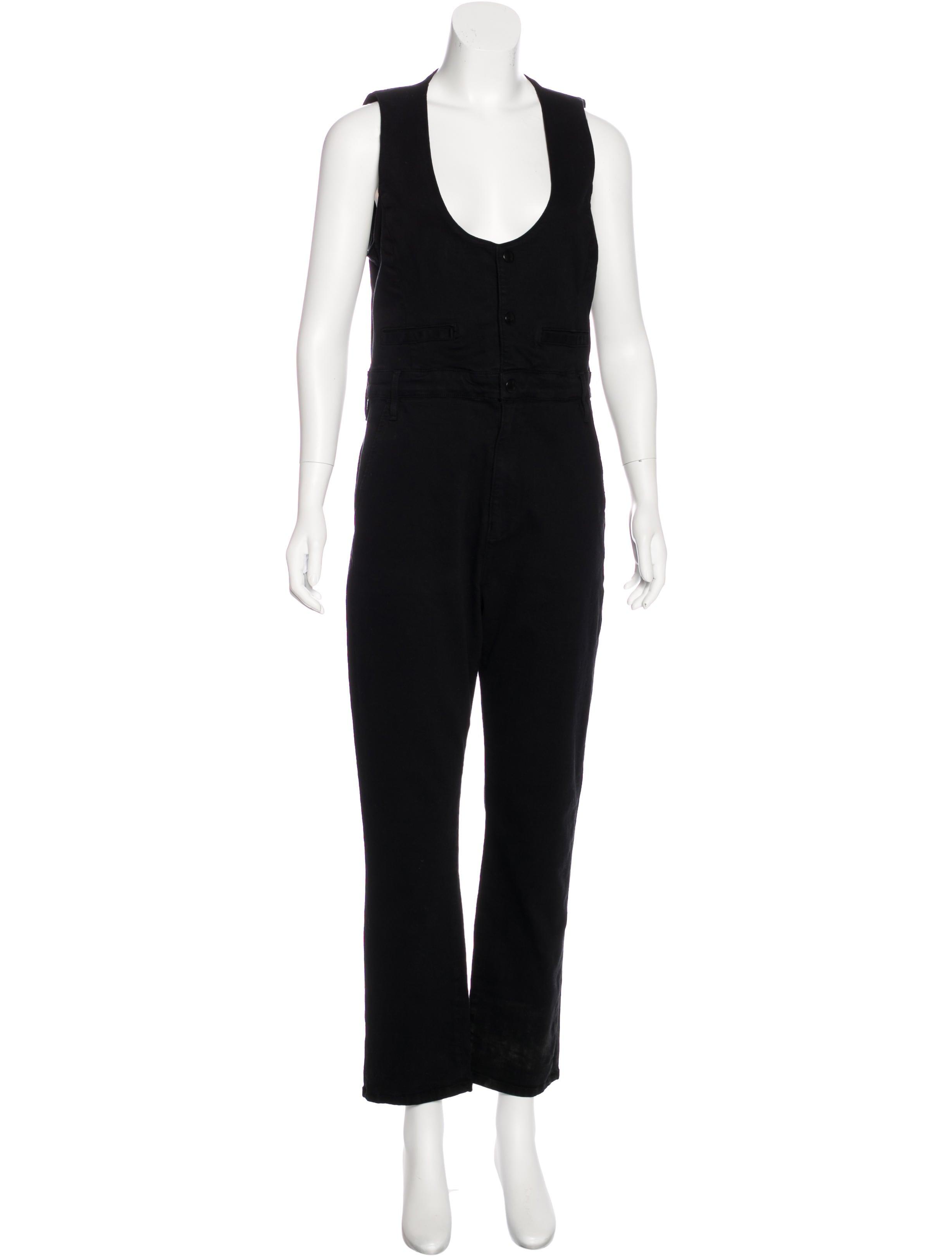 frame denim sleeveless denim jumpsuit clothing