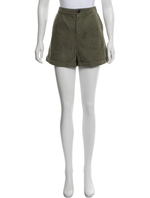 Frame High-Rise Mini Suede Shorts Olive