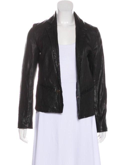 Frame Leather Blazer Black