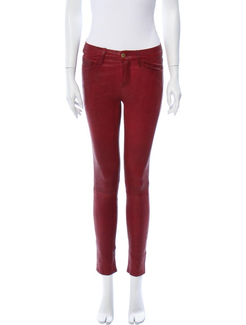 Frame Lamb Leather Skinny Leg Pants Red