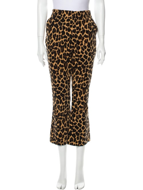 Frame Animal Print Wide Leg Pants Brown