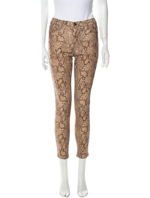 Frame Animal Print Skinny Leg Pants Brown