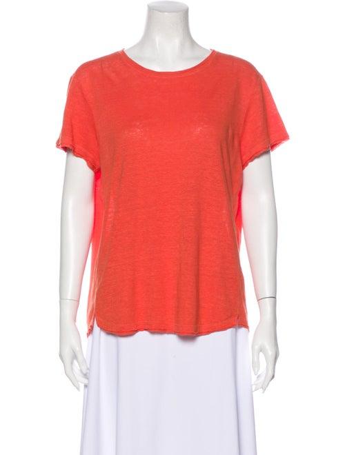 Frame Linen Scoop Neck T-Shirt Orange