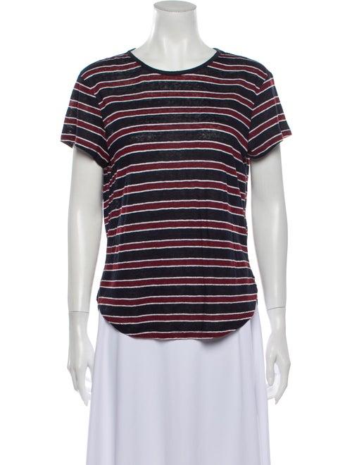 Frame Linen Striped T-Shirt Blue